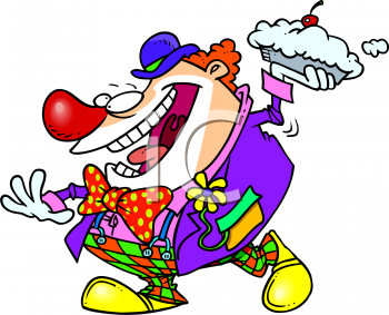 Cartoon of a Crazy Clown Throwing a Pie