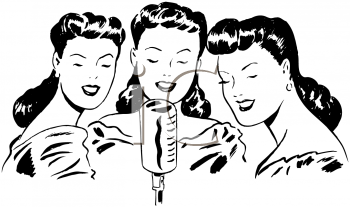 Black and White Vintage Cartoon of a Trio of Female Singers