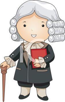 Colonial Era Judge Wearing a Powdered Wig