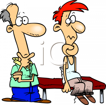 Cartoon of a Man at the Chiropractor with His Neck Tied in Knots