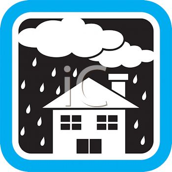 Weather Icon Showing Clouds Raining on a House