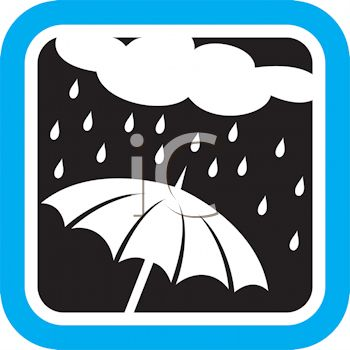 Weather Icon Showing a Rain Cloud Raining on an Umbrella