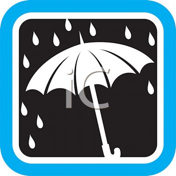 Weather Icon Showing Rain Dropping on an Umbrella