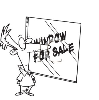 Cartoon of a Man Window Shopping