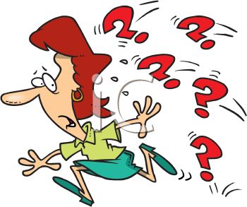 Cartoon of a Woman Running from Question Marks