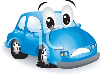 Royalty Free Clipart Image: Cute Little Cartoon Car with a Flat Tire
