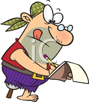 Cartoon of a Pirate Writing in a Tablet
