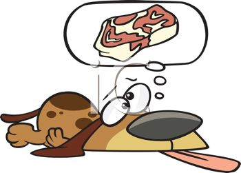 Cartoon of a Dog Day Dreaming About a Steak