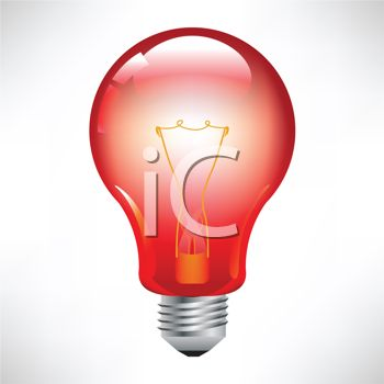 3d Red Light Bulb Royalty Free Clipart Image