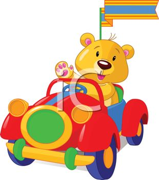 Stuffed Bear Driving a Toy Car