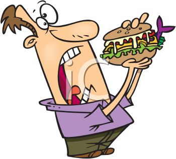 Cartoon of a Man Eating a Huge Fish Sandwich