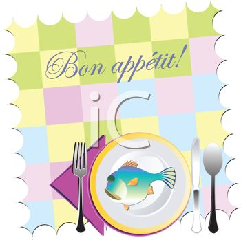 Bon Appetit Place Mat with a Plate of Fish and Utensils