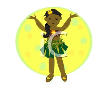 Cartoon of a Little Hawaiian Girl Wearing a Grass Skirt - Royalty ...