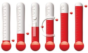 Thermometers Showing Hotter Temperatures