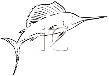 Swordfish or Marlin Fish Coloring Page or Tatoo Design