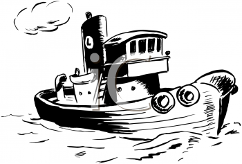 Coloring Page of a Tugboat