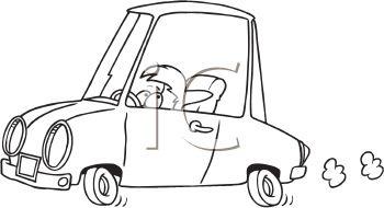Coloring Page of a Child or Short Person Driving a Car