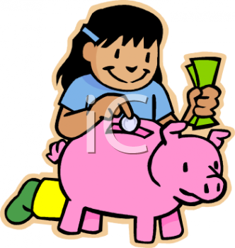 Girl Child Saving Her Money in a Piggy Bank