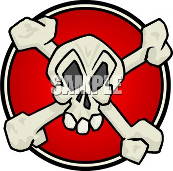 Poison Symbol - Skull and Crossbones on Red Circle