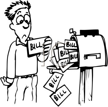 royalty free clipart image person at mailbox with lots of bills to rh clipartguide com bill clipart bill clipart