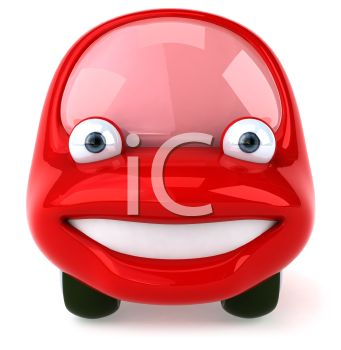 Red Cartoon Car with Smiling Face
