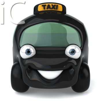Cartoon Taxi Cab with Smiling Face