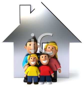 Happy family in front of a house - real estate symbol