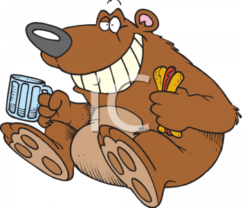 Happy bear cartoon character with a hotdog and a mug of beer