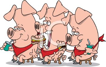 Cartoon of three pigs eating hot dogs and drinking soda pop