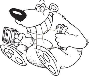 Coloring Page Of A Bear Eating Hotdog And Drinking Root Beer