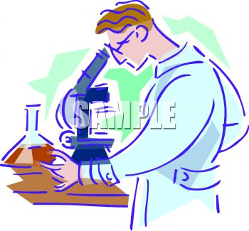 Scientist or chemist in a laboratory looking through a microscope