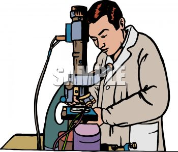 Researcher or scientist using a very powerful electronic microscope