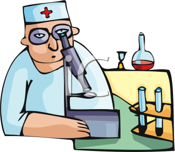 Medical researcher or chemist using a microscope