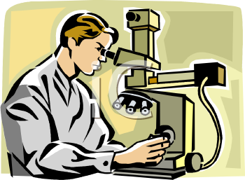 Lab researcher looking through a microscope - royalty free clip art