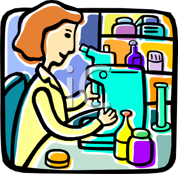 Woman researcher or pharmacist looking through a microscope
