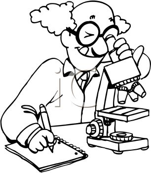 Royalty Free Clipart Image: Cartoon scientist looks through a ...