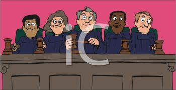 Supreme Court judges, all with gavels dressed in robes, in a court room