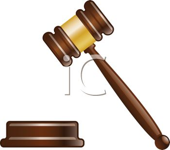 As a ruling is made a judge's gavel sounds to signify the verdict