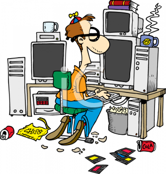 Cartoon of a classic computer nerd with beanie propeller hacking at the computer