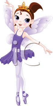 Pretty little ballerina girl with angel wings standing on tiptoes