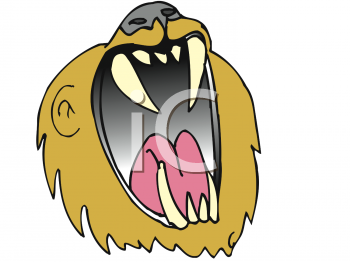 Lion with a big mouth roaring