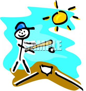 Stick figure kid playing baseball on a summer day