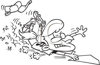 Coloring page of a cartoon girl playing baseball or softball sliding into home plate