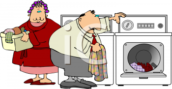 Cartoon couple doing the laundry in a Washer and Dryer at Home