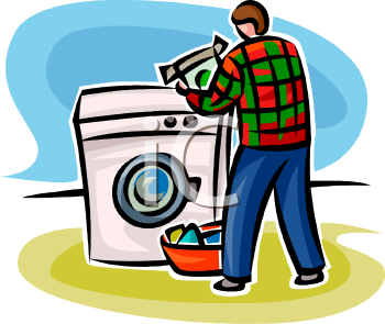 Man Doing Laundry Using a Front Loading Washing Machine or Clothes Washer