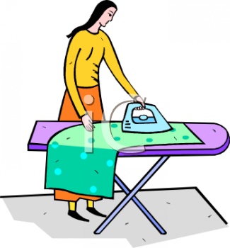 Woman Ironing on an Ironing Board