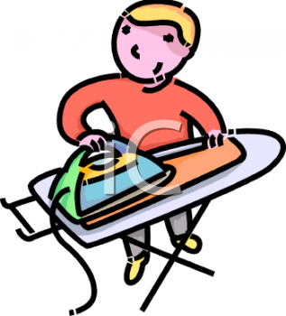 Boy or Man Ironing His Own Laundry