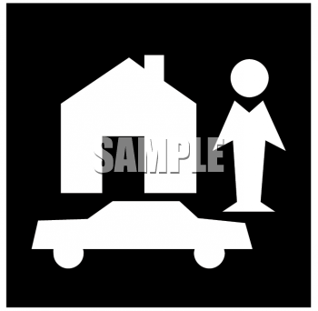 Insurance Icon Graphic Showing a Person, a Home and an Automobile
