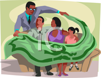 Insurance Salesman Covering a Family to Show They Are Protected