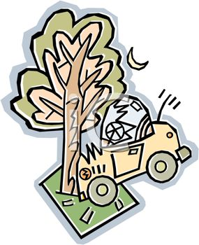 royalty free clipart image automobile that has crashed into a tree auto insurance